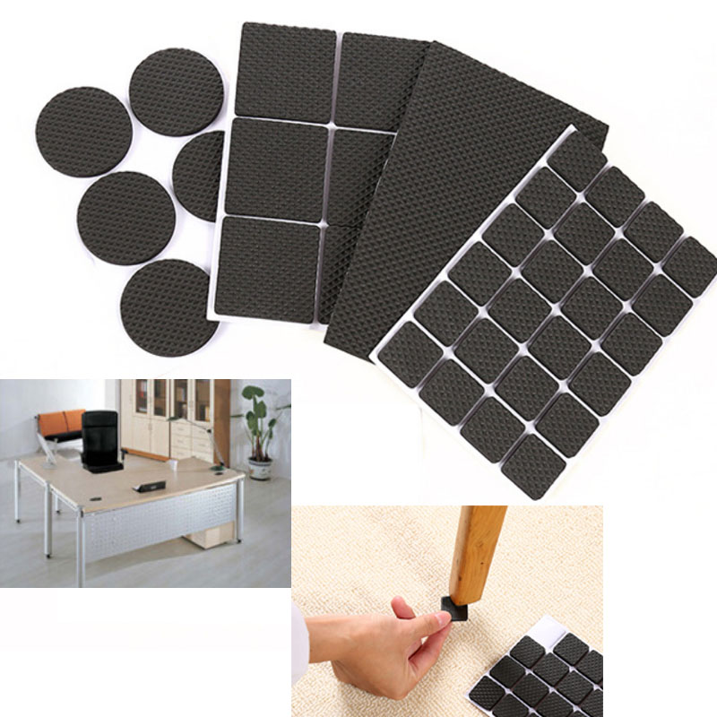 48Pcs Non-slip Self Adhesive Furniture Rubber Table Chair Feet Pads Round Square Sofa Chair Leg Sticky Pad Floor Protectors Mat