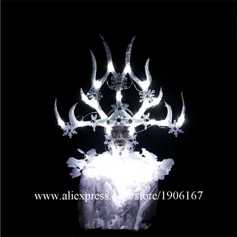 White Feathers Stage Ballroom Costume Led Light Antlers Head Clothing Party Christmas Performance DJ Singer Clothes Dance Suit