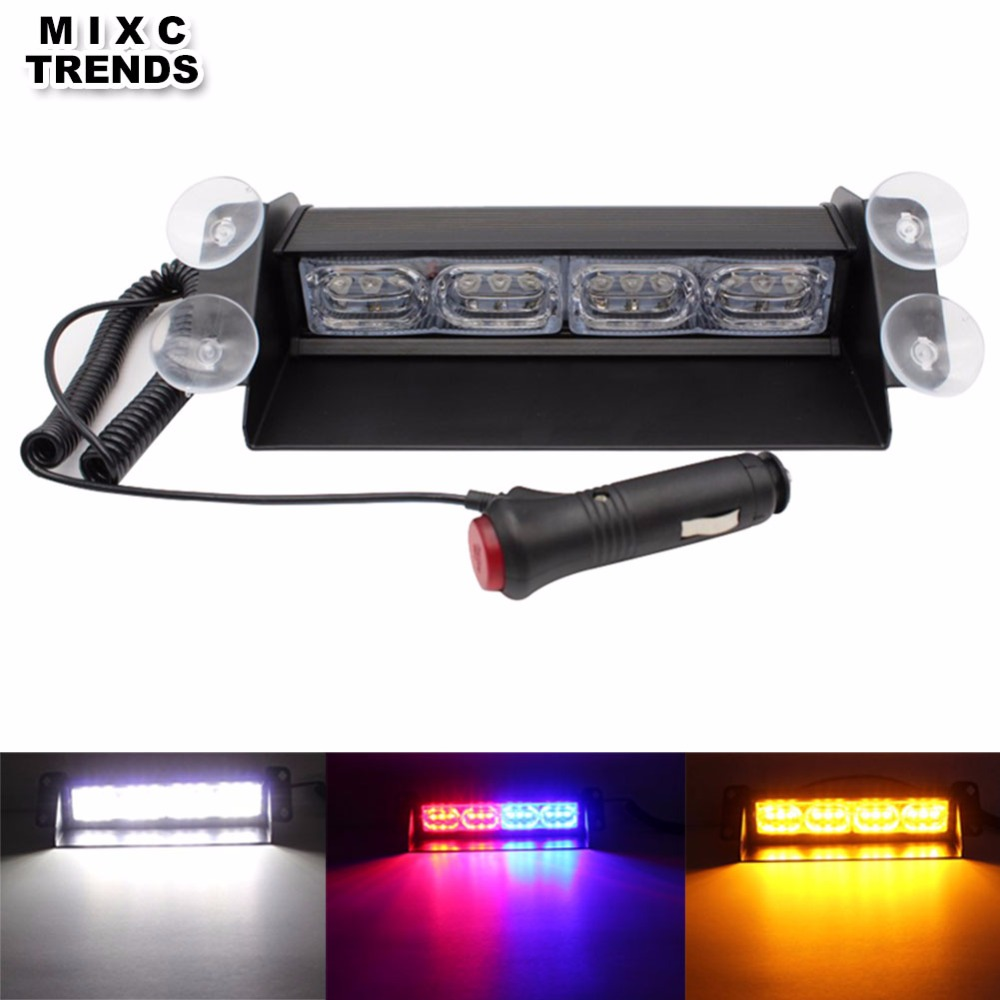 12LED Red/Blue Yellow Blue Car Strobe Flash Police Light 12W Dash windshield Emergency Warning 3 Flashing Fog Lights with Sucker велосипед foxx lynx рама 18 скоростей 6 синий