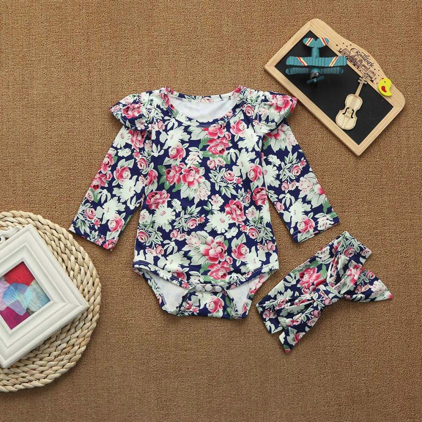Toddler Infant Baby Girls Romper with handband Floral print Clothes Set Autumn long sleeve Romper jumpsuit roupas de bebe 4pcs set baby girls clothing newborn baby clothes christmas infant jumpsuit clothes xmas bebe suits toddler romper tutu dresses