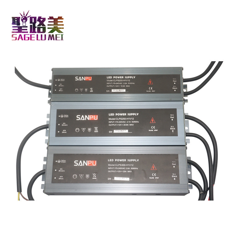 Ultra-thin waterproof LED power supply outdoor AC110V 220V to DC12V 24V transformer 45W/60W/100W/150W/200W/250W/300W led Driver led driver transformer waterproof switching power supply adapter ac170 260v to dc48v 200w waterproof outdoor ip67 led strip