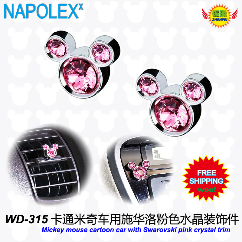 Auto zubehör mickey cartoon cardashboard vents Swarovski trim (rosa und transparent) WD-315...