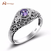 Elegant Purple Amethyst Crystal Filled CZ Ring Unique Design Vintage Party Wedding Rings For Women 925