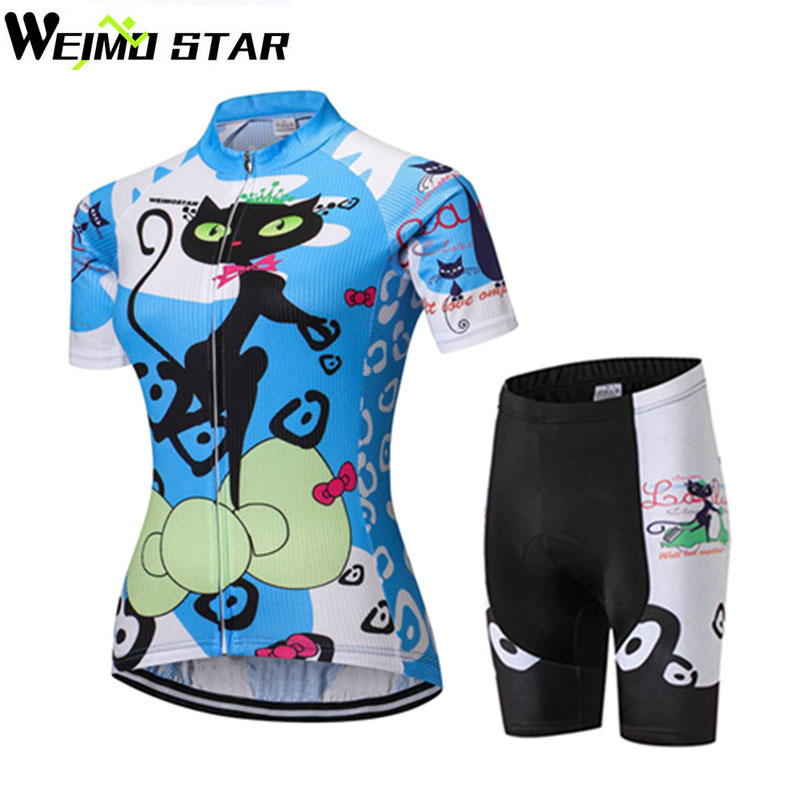 WEIMOSTAR Team Ropa Ciclismo Women Cat Blue Cycling Jersey Shorts Set Bike Bicycle Sportswear Suit