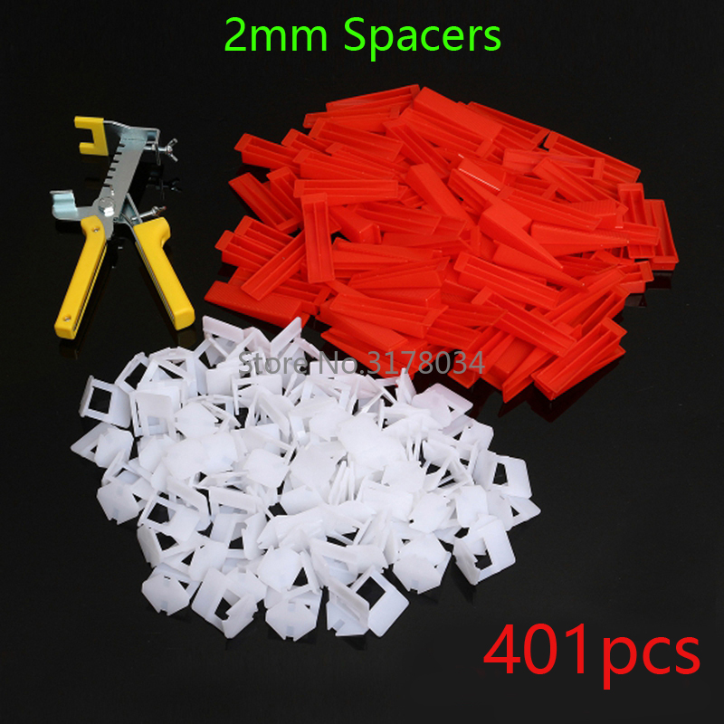 401pcs 2mm Spacer Tile Leveling System Spacer Tiling Flooring Tools 300 Pieces Clips 100 Pcs Wedges