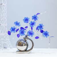 Modern fashion Crystal flower Home Decorations Creative vase Figurines & Miniatures Wedding Gifts Blue /red /Yellow / orange