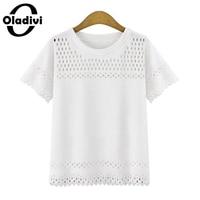Oladivi Plus Size Women Clothing 5XL White Black Shirt Blouses 2016 Casual Female Short Sleeve Polyester