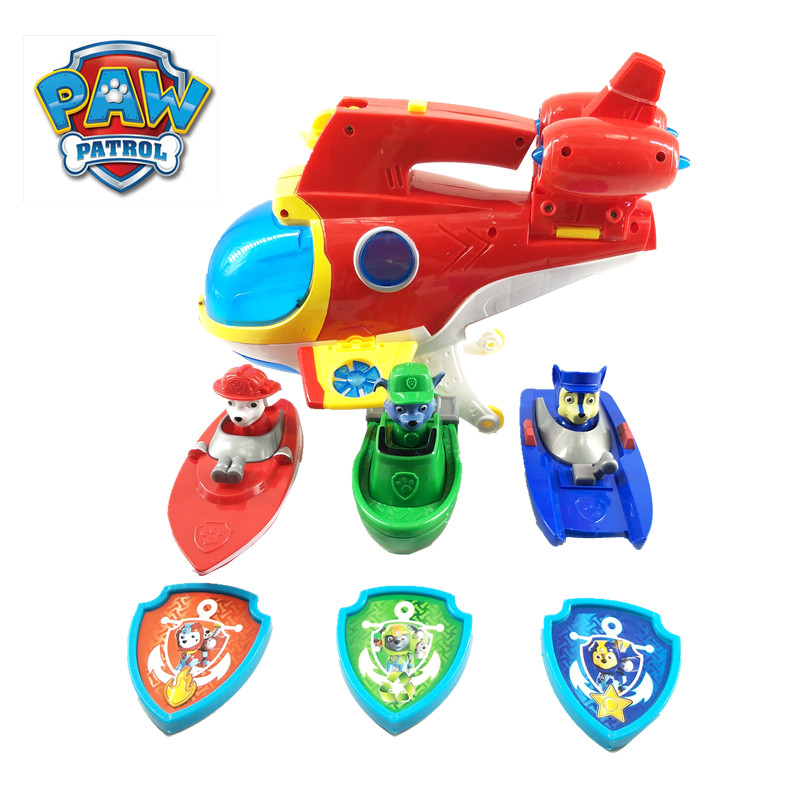 New Marine Paw Patrol Car Submarine Toys Deformation Music Action Figure Anime Figure Model Patrulla Canina Toy Of Children Gift