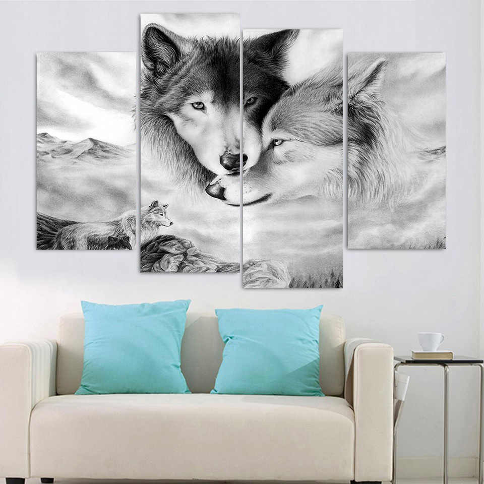HD Printed Modern Canvas Living Room Pictures 4 Panel Wolves Snuggle Together Frame Painting Wall Art Modular Poster Home Decor