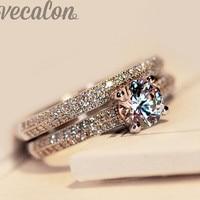 Vecalon 2016 Fashion Ring Wedding Band Ring Set For Women 1ct Cz Diamond Ring 925 Sterling