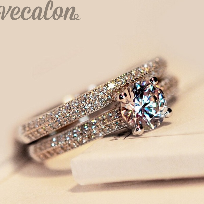 Vecalon fashion ring wedding band ring set for women 1ct 5A Zircon cz ring 925 Sterling Silver Female Engagement Finger ring