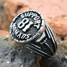 2015 Cool 316L Stainless Steel Silver Biker 81 Support font b Ring b font Mens Motorcycle