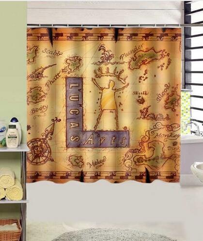 Monkey Island Design Polyester Shower Curtain 180x180cm Waterproof ...