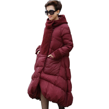 L.Coassion 5XL 2016 winter Duck Down Jacket women's long of thicker hooded lamb wool stitching loose Plus size woman coat LM01