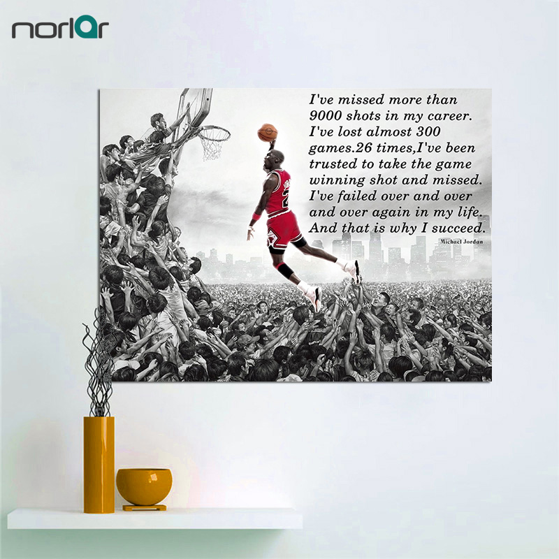 Frameless Canvas Paintings HD Printed Succeed Motivational Inspirational Quote Michael Jordan Dunks Wall Art Poster