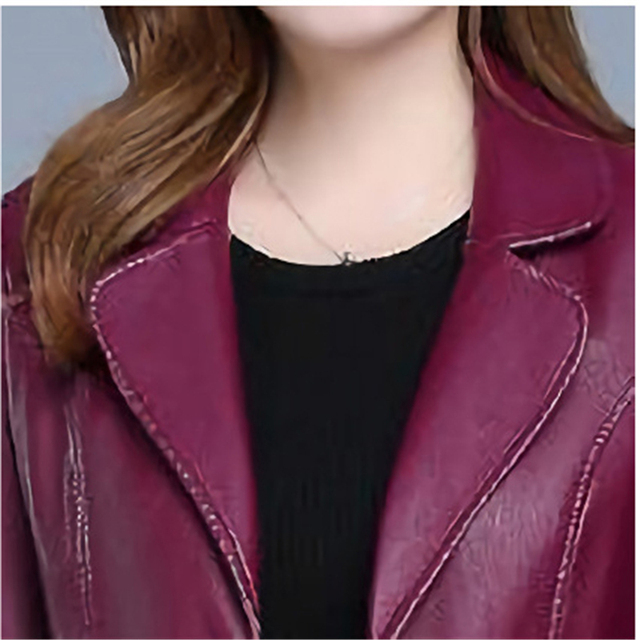 Faux leather Coat Autumn Women Black Wine Red XL-6XL plus Size Korean Temperament Jacket Long Sleeve Short Fashion Jacket JD307