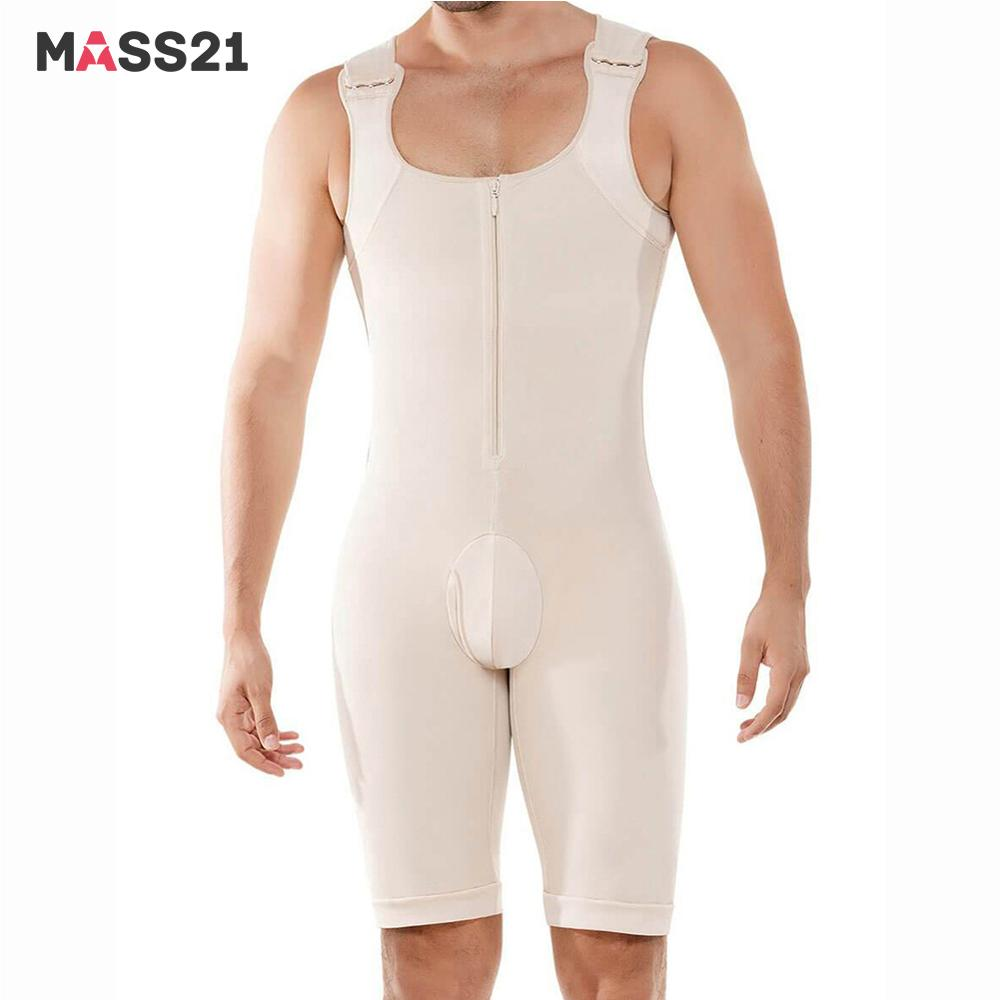 MASS21 Men Shapewear Bodysuit Slimming Full Body Shaper Butt Lifter Waist Trainer Underwear Tummy Control Compression Plus Size