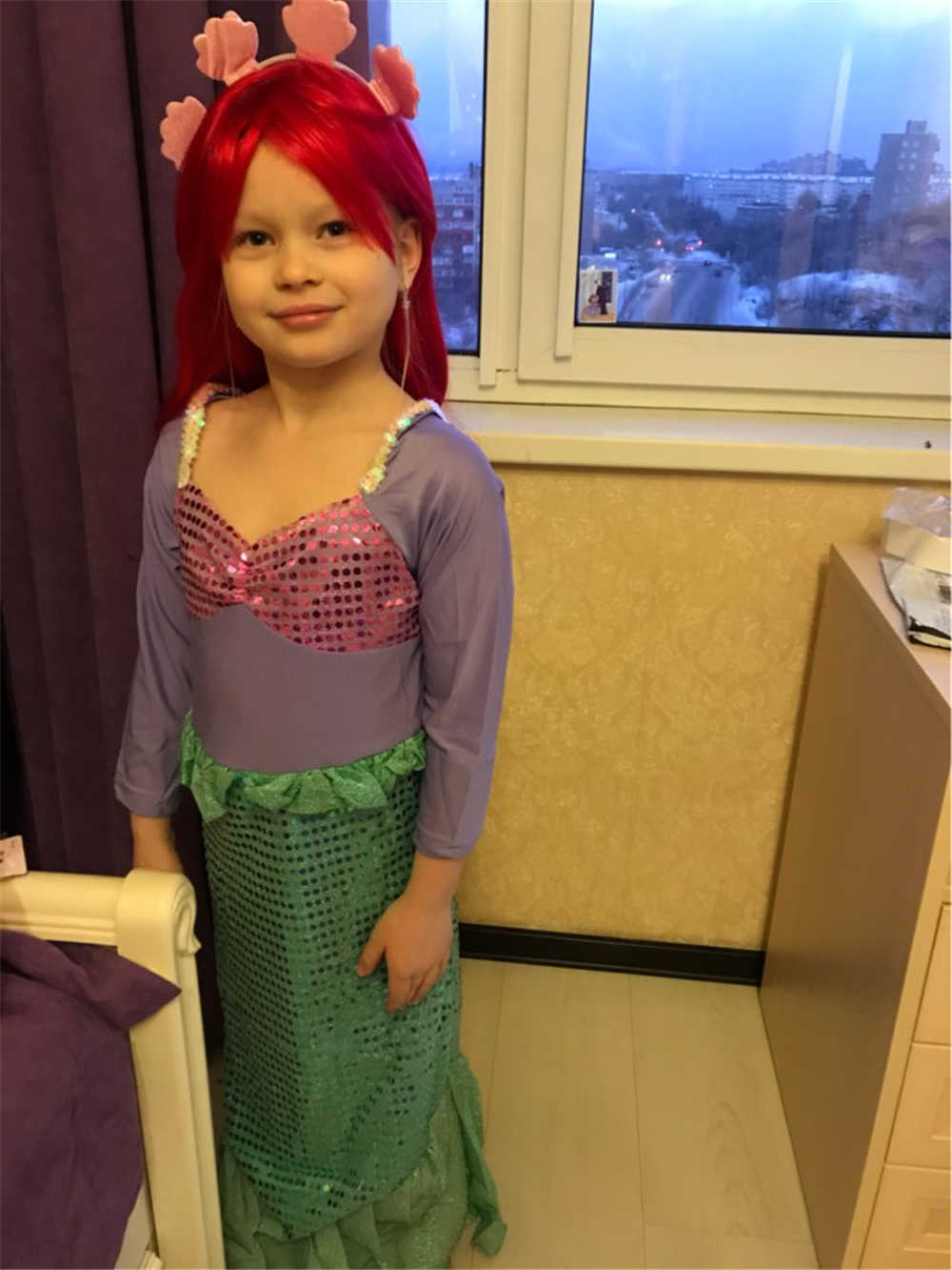 2d552cb90 ... Children's Little Mermaid Princess Dress for Girl Clothing Child Girls  Summer Beach Party Dress + Headband ...