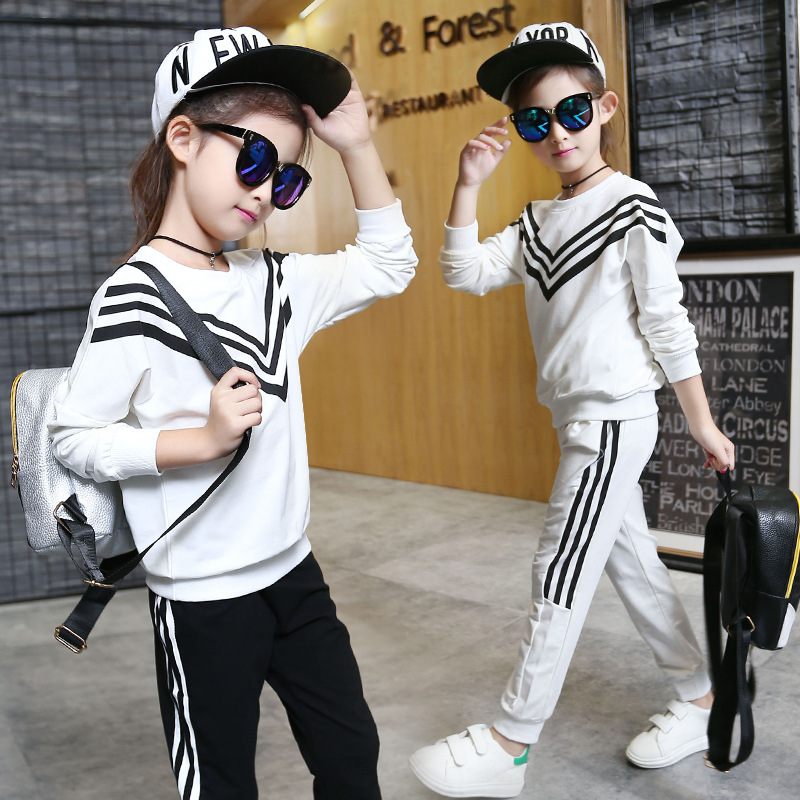 Fall Middle and Primary School Girls Long Sleeved Sports Navy Striped Suit Kids Two Pieces Clothing Sets Black White Cotton