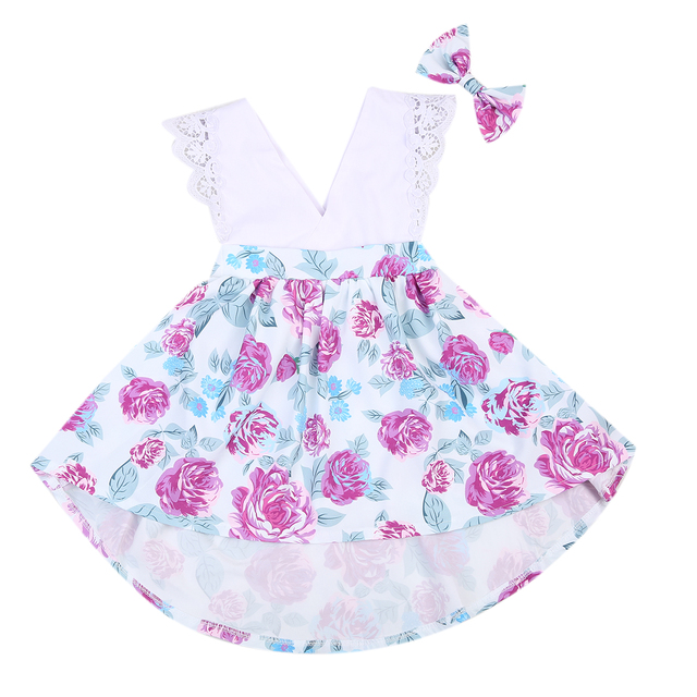 cdda00ebc6f Cute Girls Matching Outfits Infant Baby Girl Little Big Sister Ruffles  Flower Matching Clothes Romper Dresses Headband Summer