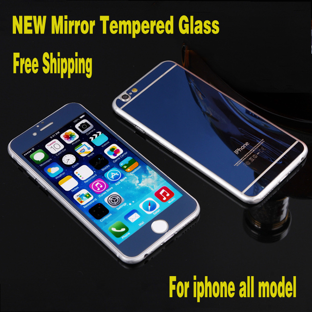 45f9ebf2048 1 Set Front+Back Tempered Glass For iPhone4 4s 5 5s 6 6s 6plus 6s plus  Screen Protector Mirror Color Glass Film 6 Colors