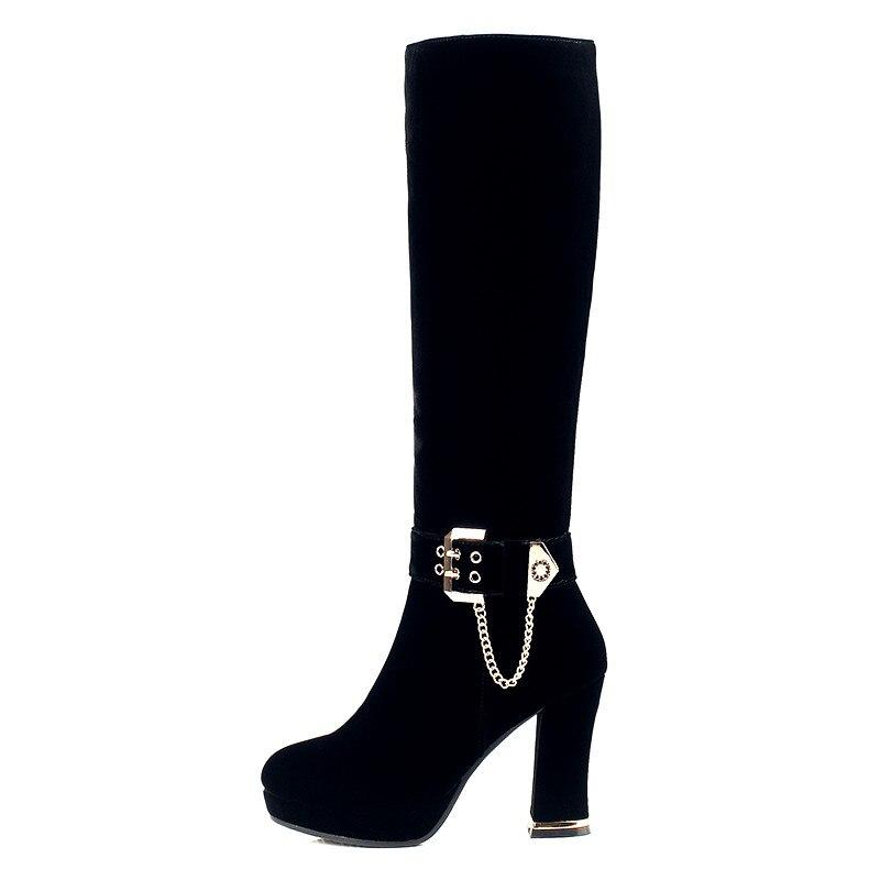 Bzbfsky Courte Talons Éclair Genou Bottes Épais Pour Femmes Troupeau Avec 2018 Peluche Black Fermeture Chaussures Longues Haute Chevalier IvyYbf76g