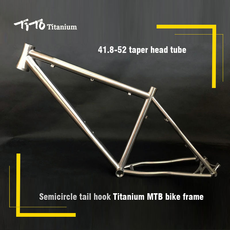 все цены на FREE SHIPPING !!!TiTo titanium mountain bike MTB frame 26 27.5 29 simi-circle PM mount disc brake 41.8-52 tarpered head tube онлайн
