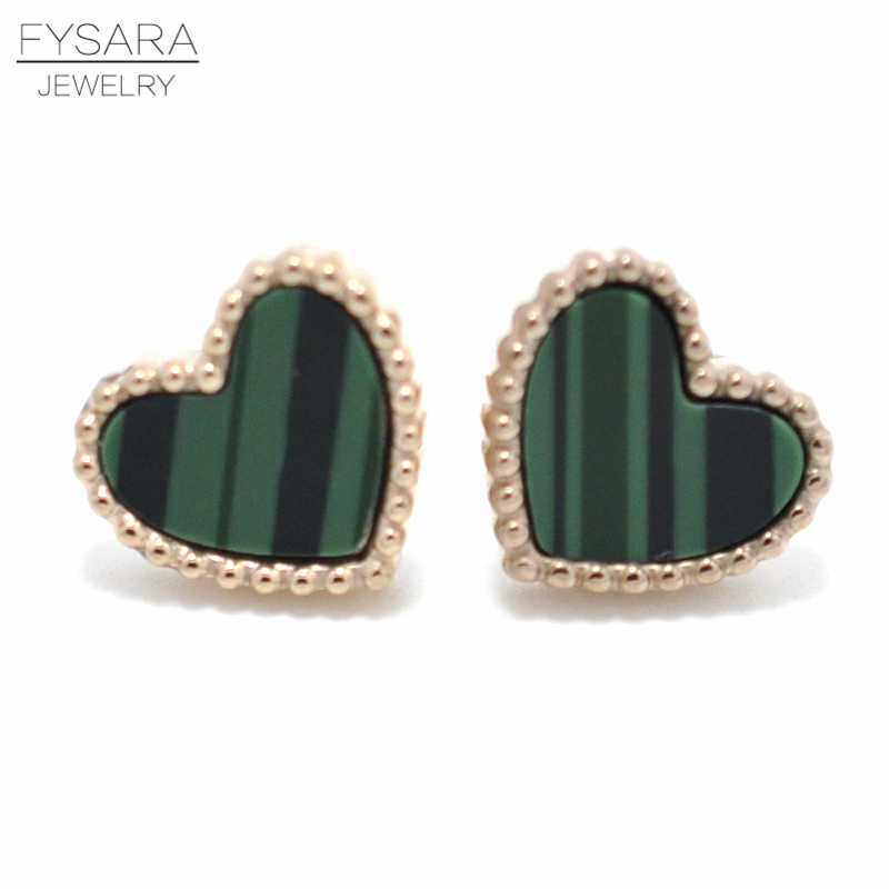 FYSARA 5 Colors Luxury Love Heart Earrings For Women Cute Earrings Stainless Steel Rose Gold Color Shell Stud Earrings Jewelry