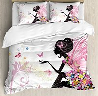 Girls Duvet Cover Set Fairy Girl with Wings Floral Dress Magical Fantasy Garden Flying Butterflies Decorative 4 Bedding Set