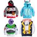 Nuevo 2015 niños de la historieta de la chaqueta terry baby & kids camisetas de los Hoodies capa caliente niñas niños prendas de vestir exteriores