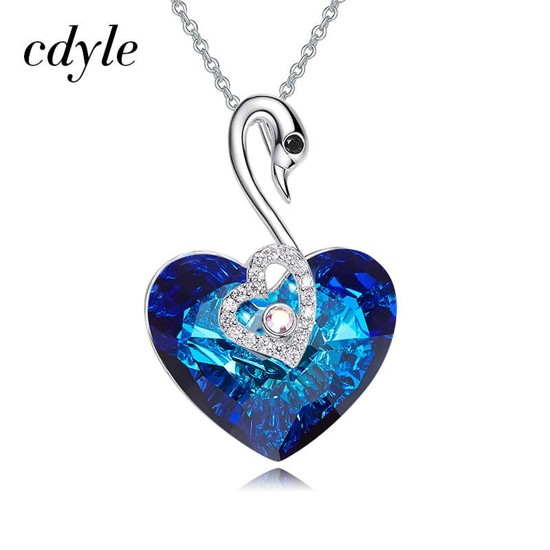 Cdyle Embellished with crystal Pendant Heart Shaped Trendy Blue Engagement Fashion Jewelry Sexy Female New 2018