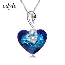 Cdyle Embelezado com cristal Pingente de Coração Em Forma de Moda Azul De Noivado Moda Jóias Sexy Fêmea Novo 2018