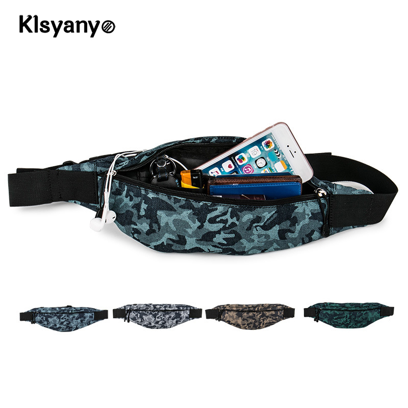 все цены на Klsyanyo Camouflage Fanny Pack Water Resistant Belt Waist Bag for Women Men Adjustable Waist Pouch pochete for Daily Use онлайн