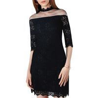 Women Gothic Sexy Short Dress Summer Lace Mesh Patchwork Stand Collar See Through Club Goth Party Street Sex Female Mini Dresses