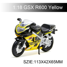 Maisto 1:18 Suzuki GSXR600 GSX R600 Yellow Motorcycle Models Diecast Moto Miniature Race Toy For Gift Collection license plate holder for suzuki gsxs 750 gsx s 750 gsx s 1000 gsxs 1000f motorcycle accessories tail tidy fender bracket