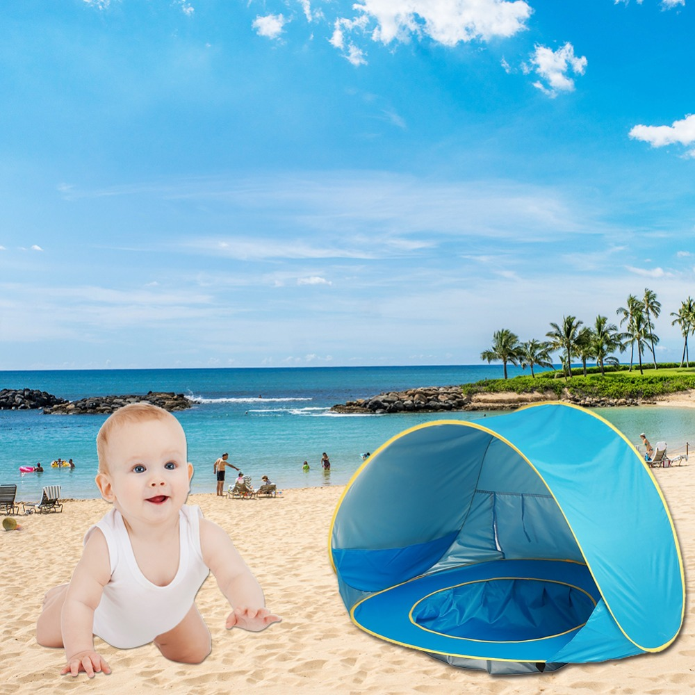 Baby Beach Tent Pop Up Portable Shade Pool UV Protection Sun Shelter for Infant Swimming Accessories baby beach tent portable outdoor beach pool playing house uv protecting sunshelter with pool waterproof pop up awning tent
