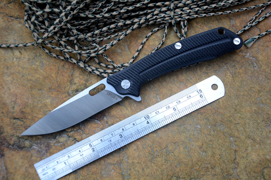 YSTART LK5013 Flipper Folding Knife With Ball Bearing Washer 440C Blade G10 Handle Outdoor Camping Hunting Pocket Knife EDCTool quality tactical folding knife d2 blade g10 steel handle ball bearing flipper camping survival knife pocket knife tools