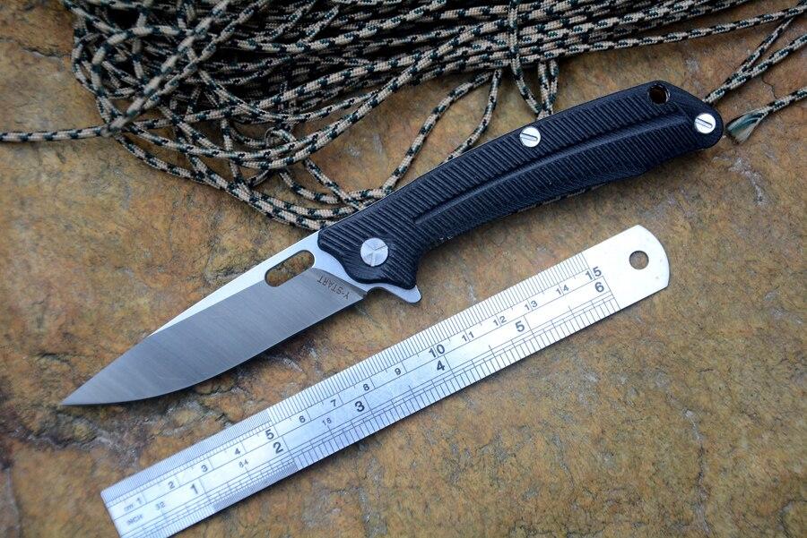 YSTART LK5013 Flipper Folding Knife With Ball Bearing Washer 440C Blade G10 Handle Outdoor Camping Hunting Pocket Knife EDCTool