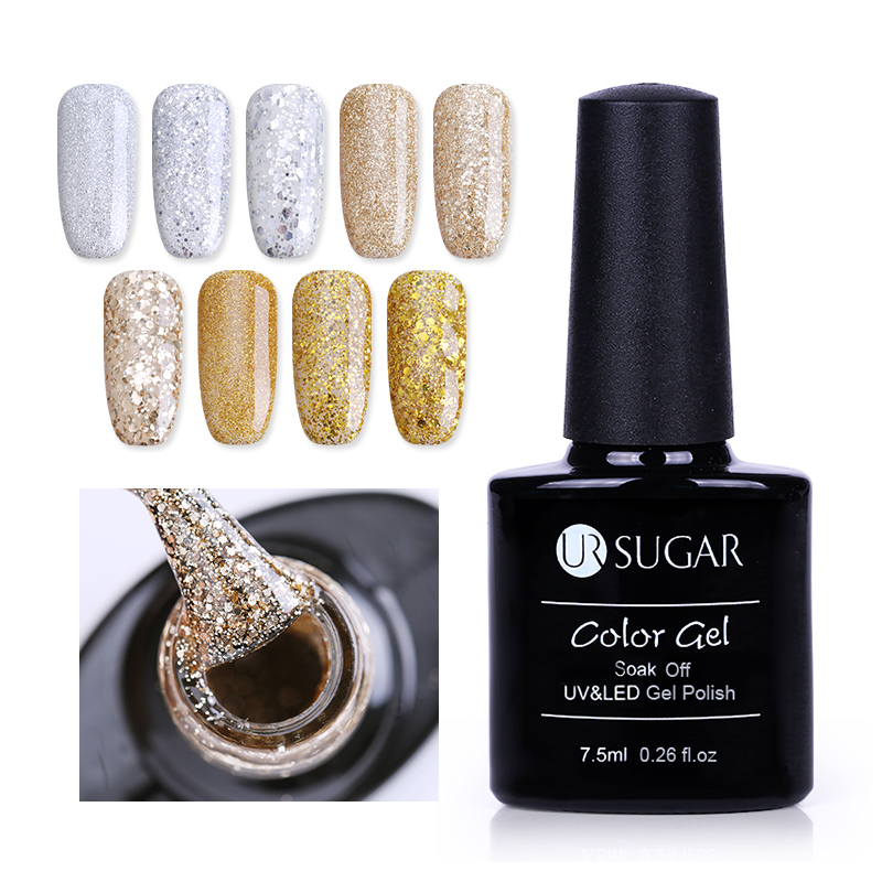 UR SUGAR 7.5ml Champagne Gold Silver Gel Polish Super  Glitter  Manicure Soak Off UV LED Gel Polish Lacquer