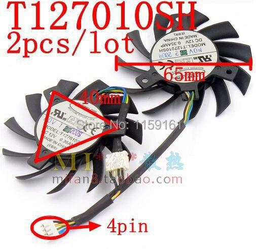 Livraison Gratuite T127010SH 2 pcs/lot broches 65mm 12 v 0.35A 40x40x40mm ventilateur de refroidissement