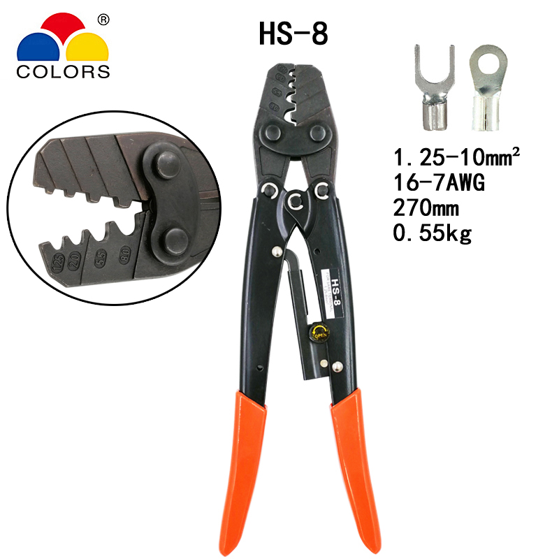 Japanischen Stil Kapazität 1,25-10mm2 16-7awg Elektrische Werkzeuge punkt Typ Offizielle Website Hs-8 Crimpen Zange Für Nicht Isolierte Terminals