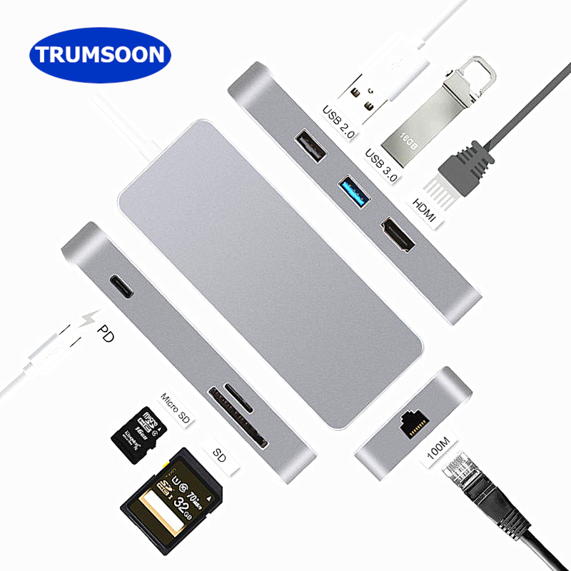 Trumsoon Type-C to HDMI RJ45 Ethernet USB 3.0 USB 2.0 Adapter SD/TF Card Reader USB-C Type C HUB PD for MacBook Samsung Huawei 7 in 1 usb c type c hub to hdmi sd tf card reader usb 3 0 rj45 pd charging adapter for macbook samsung galaxy usb c hub
