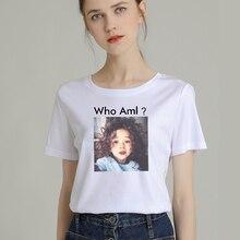 Fashion Women T-Shirt Big Plus Size Tshirt Femme Print Who Am I Girl T Shirt Top White Female Tops Short Tee Shirt Funny Girl недорого
