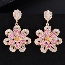 SisCathy Beautiful Charms Geometric Flower Pendant Earrings For Women Elegant Cubic Zirconia Party Wedding Jewelry