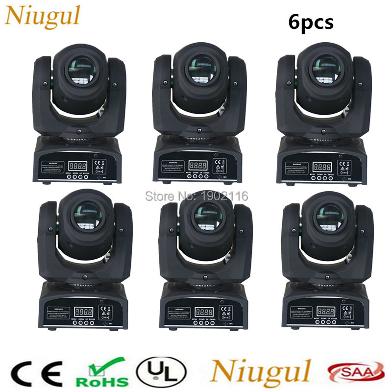 6pcs 10W LED Spot Moving Head Light DMX512/SOUND 10W LED pattern gobo effect light stage party disco dj lighting KTV BAR Lamps