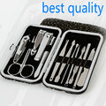 Best brand 12pcs Manicure Set Pedicure Scissor + Cuticle Knife + Ear Pick + Nail Clipper Kit Stainless Steel Nail Care Tool Sets