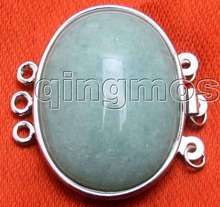 SALE Big 25*30mm Oval natural Green jade Three strands Clasp-gp174 Wholesale/retail Free shipping free shipping for jade cushion germanium jade heated cushion hot sale in china for sale