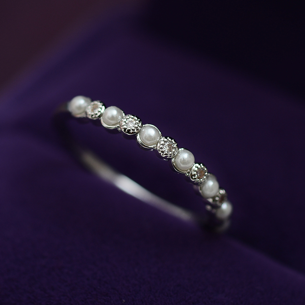 Imitation Pearls Cz Ring Shining Delicate 2017 Fashion Luxury Design Gift  To Lover Rings For Women