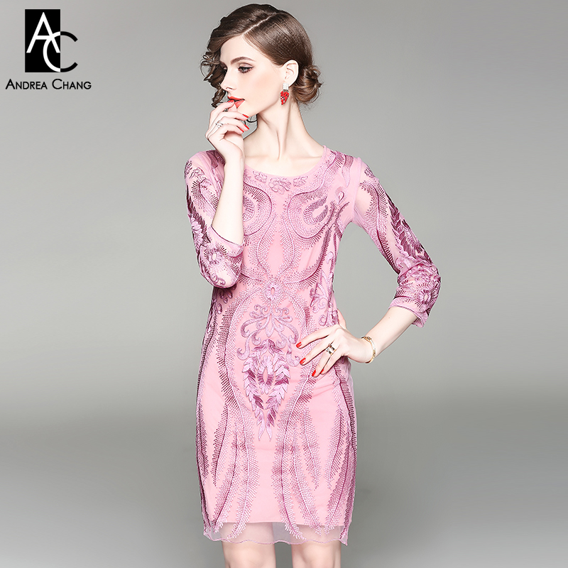 spring autumn woman dress vintage floral pattern high quality embroidery pink dress plus size above knee party event XXXL dress plus size floral embroidery dress