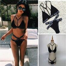 Dios salve a queens carta imprimir maillot de bain 2016 dress negro palabras mujeres biquini traje de baño bikini set vendaje monokini brasileño